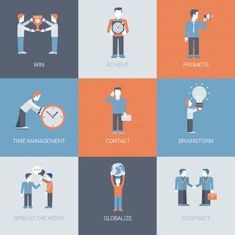 Zakelijke marketing promotie mensen en object situaties pictogrammen instellen.
