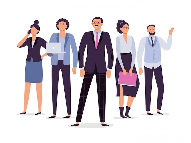 Zakelijke medewerkers team. teamwork leiderschap, succes uitvoerende werknemer en kantoor mensen groep illustratie