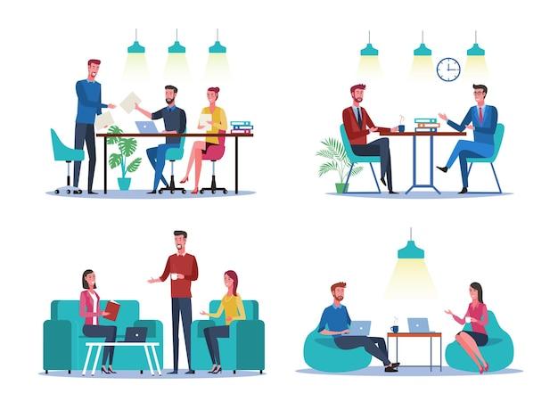 Zakelijke mensen groep ingesteld op hun werkplek