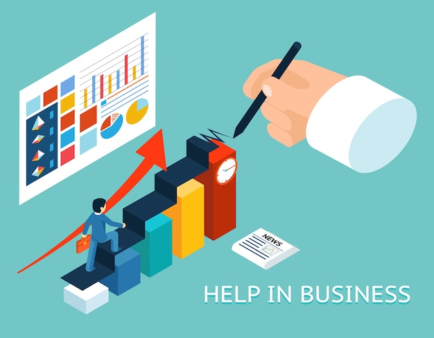 Zakelijke mentor help partner. isometrische 3d. partnerschap en groei, advies graph-grafiek