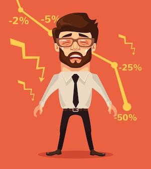 Zakelijke mislukking grafiek naar beneden triest ongelukkig kantoormedewerker, platte cartoon afbeelding