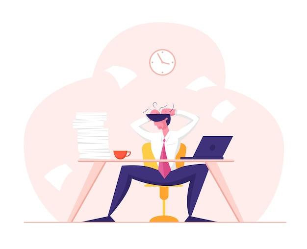 Zakelijke mislukking stress vermoeidheid en frustratie concept moe beklemtoonde werknemer
