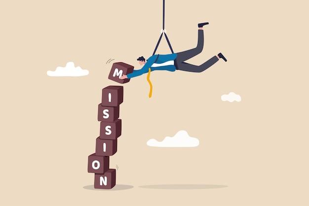 Zakelijke missie, leiderschapsvaardigheid om het doel te bereiken.