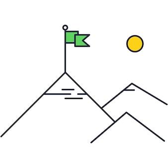 Zakelijke missie pictogram lijn vector bergtop