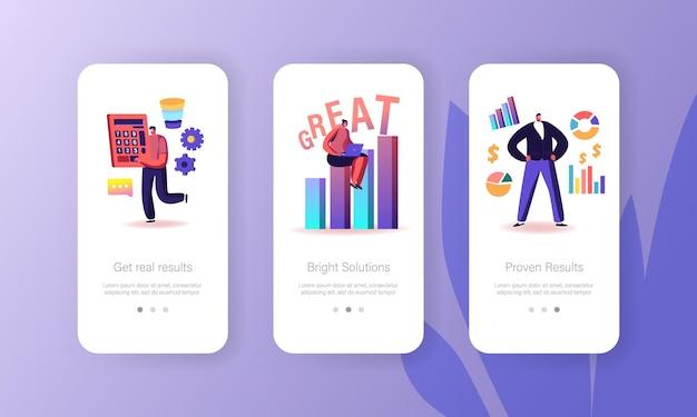 Zakelijke mobiele app-pagina aan boord van schermsjabloon
