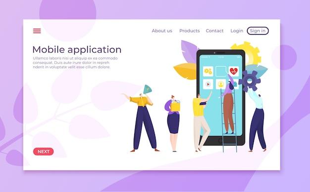 Zakelijke mobiele applicatie ontwerp ontwikkeling illustratie