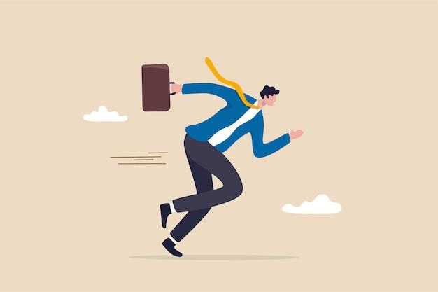 Zakelijke motivatie of behendigheid, succes in snel veranderende zakelijke concurrentie, carrière-uitdagingsconcept, zelfverzekerde gemotiveerde zakenman die aktetas vasthoudt met volledige inspanning om de concurrentie te winnen.