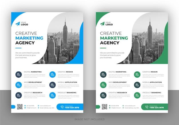 Zakelijke multifunctionele flyer ontwerp en voorbladsjabloon