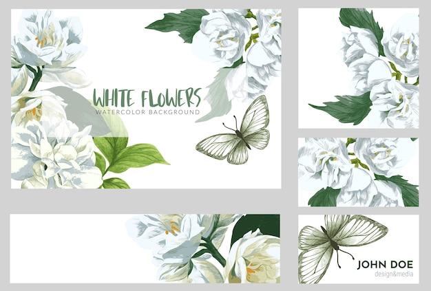 Zakelijke of wenskaart met witte jasmijn