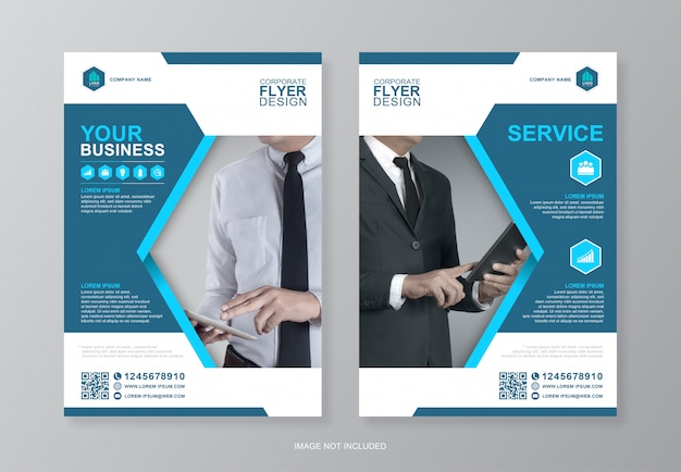 Zakelijke omslag en achterpagina a4 flyer ontwerpen sjabloon