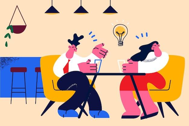 Zakelijke onderhandelingen, brainstorm en creatief idee concept. jonge lachende zakenmensen zitten discussiëren over zaken met geweldige ideeën in gedachten vectorillustratie