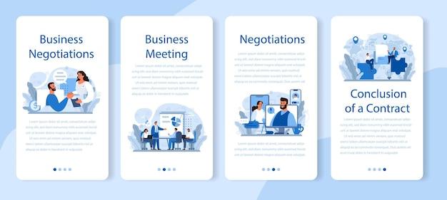 Zakelijke onderhandelingen mobiele applicatie banner set. bedrijfsplanning en ontwikkeling. toekomstig zakelijk partnerschap, brainstormen of teamwerk.