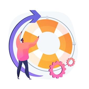 Zakelijke ondersteuning. leiderschap, advies, advisering. mannelijke stripfiguur met opblaasbare cirkel. bedrijfsleider plat ontwerpelement.
