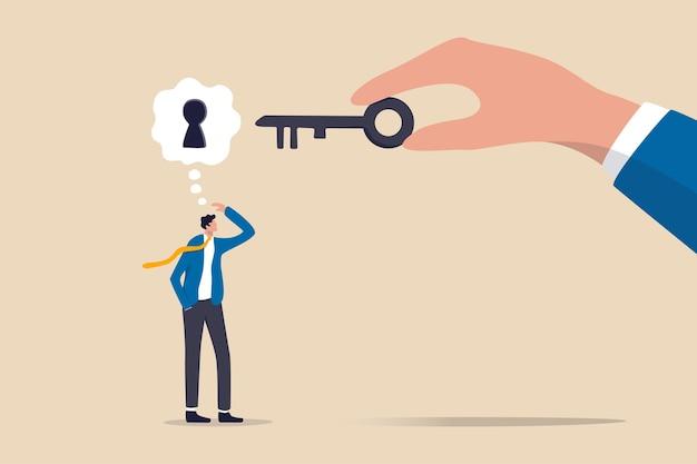 Zakelijke ondersteuning of hulp om het probleem op te lossen, werkbelemmering of sleutel opheffen en deblokkeren om het concept van een bedrijfsidee te ontgrendelen