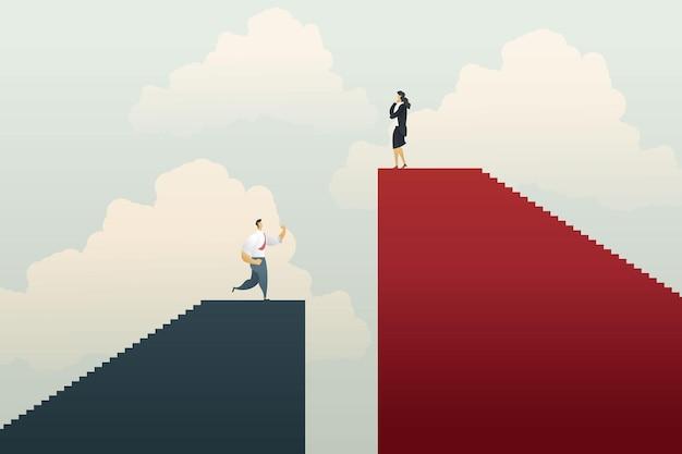 Zakelijke ongelijkheid met zakenlieden en zakenvrouw werkpositie onrechtvaardigheid ongelijkheid
