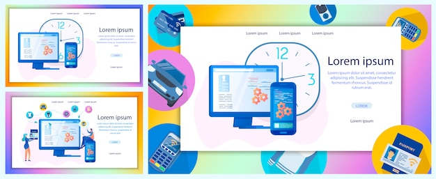 Zakelijke online service platte vector webbanner set