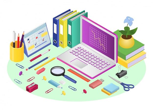 Zakelijke online werkplek met laptop, illustratie. internetwerk op kantoor tafel achtergrond, werkruimte technologie concept. digitale baan aan bureau, notitieboekje en document.