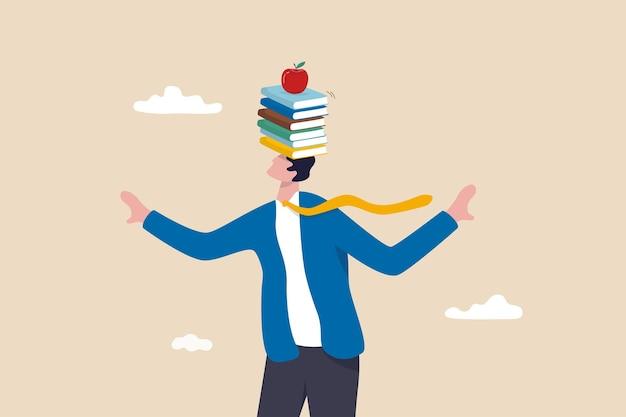 Zakelijke ontwikkelingsboeken, nieuwe vaardigheden leren of studeren voor zelfverbetering en succes in werk, onderwijs of kennisconcept, slimme zakenmanbalansboeken stapelen op zijn hoofd met appel erop