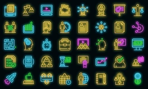 Zakelijke opleiding pictogrammen instellen. overzicht set van zakelijke opleiding vector iconen neon kleur op zwart