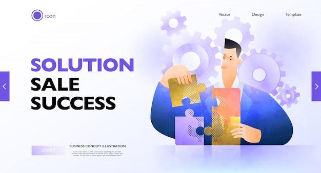 Zakelijke oplossing concept banner. zakenman die puzzel oplossen die uitzoeken wat het beste is. zakelijke illustratie.
