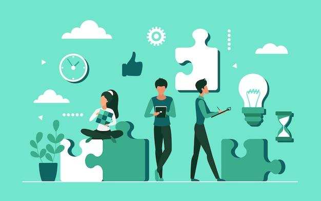 Zakelijke oplossing, drukke zakenmensen die probleem oplossen