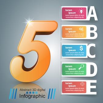 Zakelijke origami stijl infographic. vijf items.