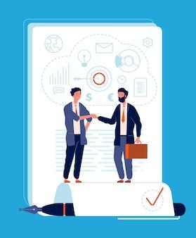 Zakelijke overeenkomst. handshaking persoon partnerschap contract ondertekening financiën en bedrijfsinvesteringen concept. handtekening van de overeenkomst van de zakenman, handdruk, partnerschap illustratie