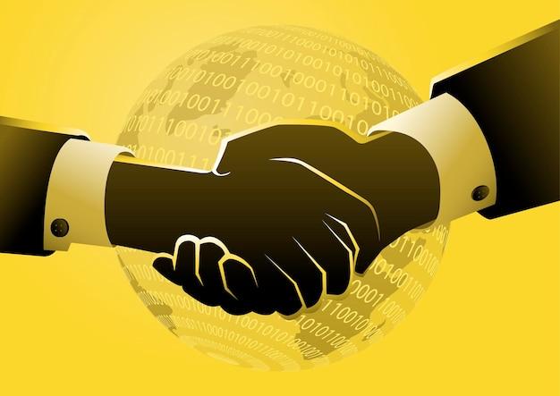 Zakelijke overeenkomst via digitale verbinding. bedrijfsconcept