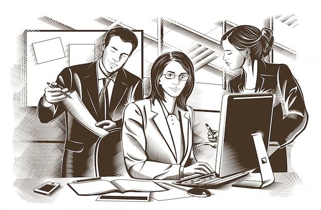 Zakelijke partners discussiëren over documenten en ideeën op vergadering. gegraveerde