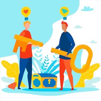 Zakelijke partners houden puzzel key brainstorm