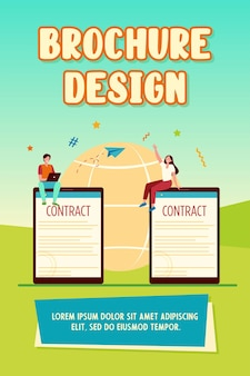 Zakelijke partners ondertekenen contract online brochure sjabloon