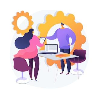 Zakelijke partners ontmoeten. financieel adviseur, advocaat en stripfiguren van klanten. sollicitatiegesprek, onderhandeling met collega's, ondertekening van arbeidsovereenkomst.