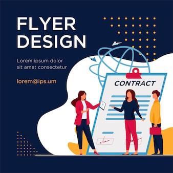 Zakelijke partners ontmoeten. ondernemers ontmoeten elkaar voor het ondertekenen van contract platte flyer-sjabloon