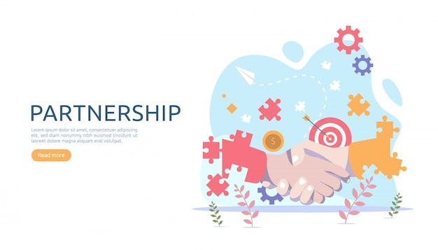 Zakelijke partnerschaprelatie met handbewegingen en kleine mensen.