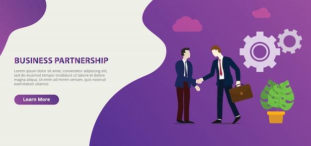 Zakelijke partnerschapsovereenkomst in de website ontwerppagina sjabloon voor spandoek