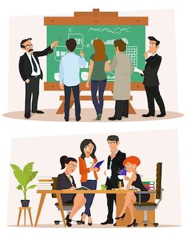 Zakelijke personages scène. zakelijke bijeenkomst in het kantoor. studie en bespreking van ideeën.