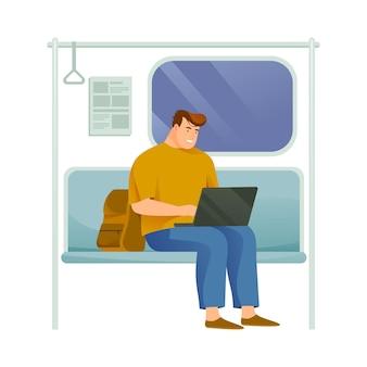 Zakelijke persoon of drukke man die in de metro rijdt