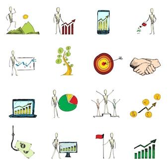 Zakelijke pictogrammen gekleurde set
