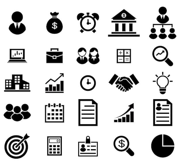 Zakelijke pictogrammen instellen. pictogrammen voor zaken en financiën