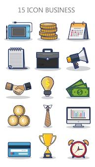 Zakelijke pictogrammenset met platte ontwerpconcept