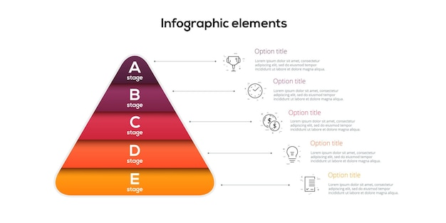 Zakelijke piramidegrafiek infographics met 5 stappen piramidale stadia grafiekelementen Premium Vector