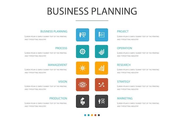 Zakelijke planning infographic 10 optie concept.management, project, onderzoek, strategie eenvoudige pictogrammen