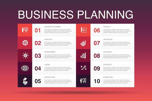 Zakelijke planning infographic 10 optie template.management, project, onderzoek, strategie eenvoudige pictogrammen