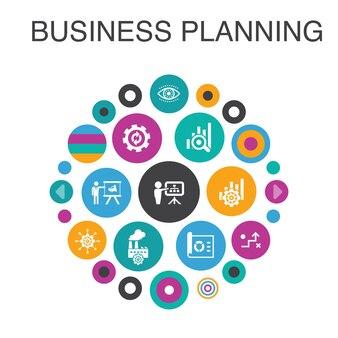 Zakelijke planning infographic cirkel concept. beheer van slimme ui-elementen, project, onderzoek, strategie