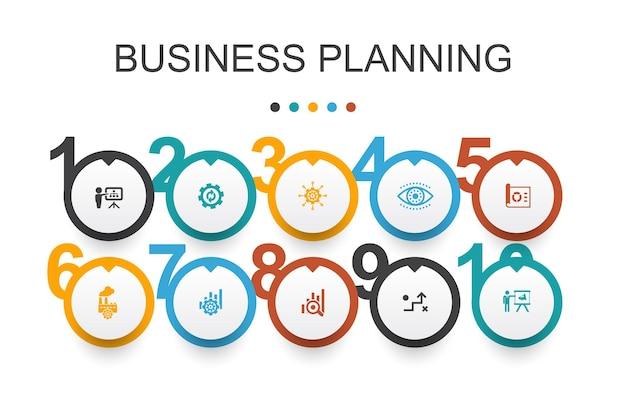 Zakelijke planning infographic ontwerpsjabloon. management, project, onderzoek, strategie eenvoudige pictogrammen