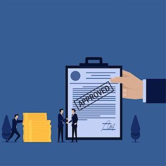 Zakelijke platte concept man handdruk met goedgekeurd papier op achtergrond metafoor van deal.