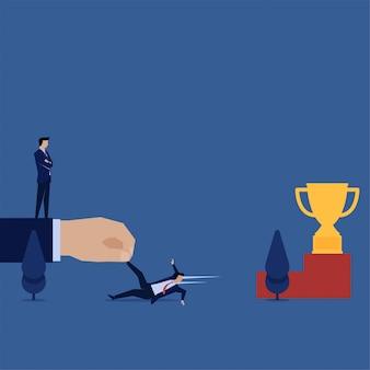 Zakelijke platte vector concept hand slepen zakenman uit bereiken de trofee metafoor van oneerlijke concurrentie.