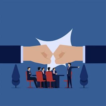 Zakelijke platte vector concept team confrontatie op kantoor vergadering.