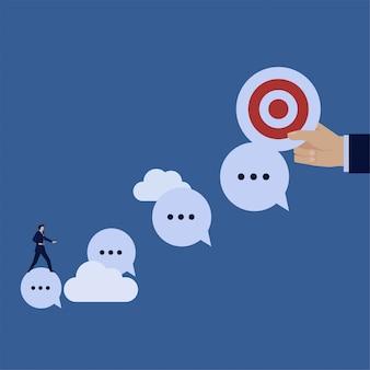 Zakelijke platte vector concept zakenman rit praatjebel te richten metafoor van volgen bericht.