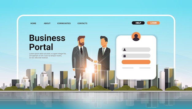 Zakelijke portal website bestemmingspagina sjabloon ondernemers handen schudden overeenkomst concept